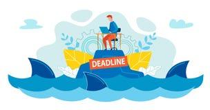 Bad för kontorsarbetare bland hajar i havet eller havet royaltyfri illustrationer