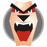 Bad face of a monster. Logo art: dog, demon, monster, wolf Stock Photography