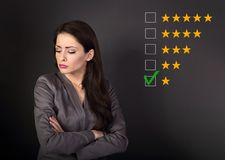 The bad, failure worst rating, evaluation, online review. One st. Ar. The time to make business better. Unhappy resentful business woman in suit with folded arms royalty free stock photo