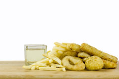 Bad fats (sunflower oils, french fries and fried food) Stock Photos