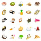 Bad food icons set, isometric style. Bad food icons set. Isometric set of 25 bad food vector icons for web isolated on white background Stock Photography