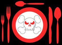 Bad food illustration in black and red royalty free stock photography