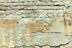 Bad foundation base on old house or building cracked plaster facade wall with brick background Stock Photos