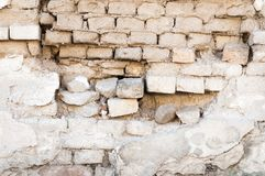Bad foundation base on old house or building cracked plaster facade wall with brick background.  royalty free stock images
