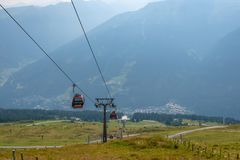 BAD GASTEIN, AUSTRIA - AUGUST 06, 2018: Panoramic view of the aerial cableway and downtown stock photos