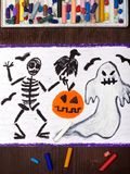 Bad ghost, skeleton, pumpkin and raven Stock Photos