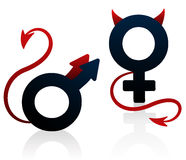 Bad Girl Bad Guy Devil Symbol. Bad girl and bad guy figured as the female and male symbol with devils tails and horns. Isolated vector illustration on white Stock Photography