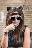 Bad girl with leather cat ears Royalty Free Stock Image