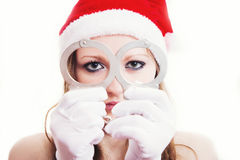 Bad girl. In a new year costume Stock Photography