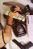 Bad girl. On the phone Stock Photo