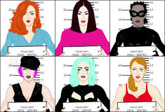 Bad Girls Mugshots Stock Image