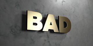 Bad - Gold sign mounted on glossy marble wall  - 3D rendered royalty free stock illustration. This image can be used for an online website banner ad or a print Royalty Free Stock Photography