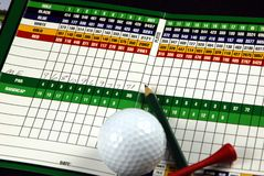 Bad golf day. Golf scorecard with pencil, tee and golf ball with score Stock Photography