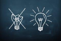 Bad and good idea concept. Bulbs drawn on the blackboard Royalty Free Stock Photo