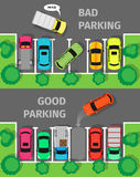 Bad and Good Parking Top View Stock Photography