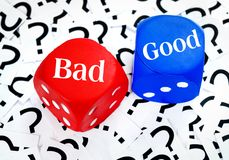 Bad or Good word. On question mark background Royalty Free Stock Photo