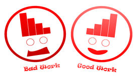 Bad And Good Work Icons. There are two icons. One is sad it means that you have done a bad work, the other is smiling, means that you have done a good work Stock Photo