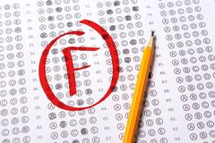 Bad grade F is written with red pen on the tests.  royalty free stock image