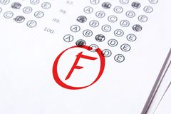 Bad grade F is written with red pen on the tests.  stock image