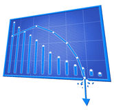 bad graph isolated on withe background Royalty Free Stock Images