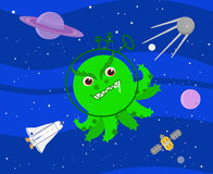 Bad green alien in outer space vector Royalty Free Stock Photography