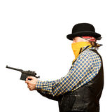 Wild west bank robbery. Bad guy robs bank on white square background Royalty Free Stock Images