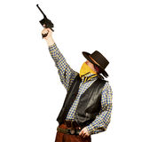 Wild west bank robbery. Bad guy tries to target someone on white square background Royalty Free Stock Photos