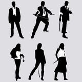 Bad guys vector silhouettes. Bad guys silhouettes (men and women stock illustration