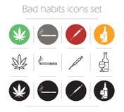 Bad habit icons set. Marijuana leaf flat design pictogram. Drug injection syringe and smoking cigarette contour line symbols. Alcohol bottle silhouette Royalty Free Stock Images