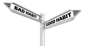 Bad habit. Seal and imprint. Road sign with the words `BAD HABIT and GOOD HABIT`. Isolated. 3D Illustration Royalty Free Stock Image