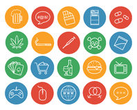 Bad habits color linear icons set Royalty Free Stock Images
