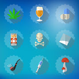 Bad Habits Flat Vector Icon Set. Include beer, alcohol, pills, i Royalty Free Stock Image