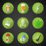 Bad Habits Flat Vector Icon Set. Include beer, alcohol, pills, i Royalty Free Stock Photography