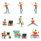 Bad habits set, alcoholism, drug addiction, smoking, dependence of computer and video games, shopping, gluttony with. Obesity vector Illustrations isolated on Royalty Free Stock Photos
