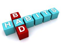 Bad habits sign. 3d letter blocks in crossword puzzle shape spelling bad habits, white background Stock Photo