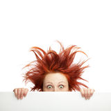 Bad hair day. Redhead woman with messy hair with copy space royalty free stock image