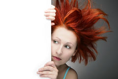 Bad hair day. Redhead woman with messy hair with copy space Royalty Free Stock Photos