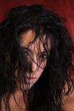 Bad hair day. Messy wet long black hair female model royalty free stock images