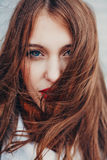 Bad hair day. Beautiful girl with long tangled. Royalty Free Stock Image