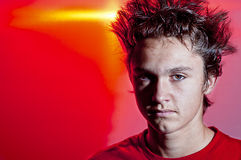 Bad Hair Day With Red Background Royalty Free Stock Photo