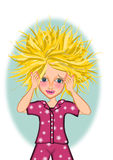 Bad hair day. Stressful woman bad hair day illustrations vector illustration