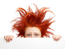 Bad hair day. Woman with bad hair day isolated on white royalty free stock photo
