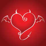 Bad heart with wings and horns flies on a red back. Ground Royalty Free Stock Photo