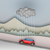 Bad holiday - Car and the only rain cloud Stock Photography