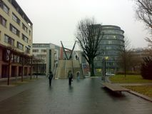 BAD HOMBURG, GERMANY - DECEMBER 28, 2007: Architecture and people on the streets city. BAD HOMBURG, GERMANY - DECEMBER 28, 2007: Architecture and people on the royalty free stock photos