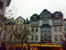BAD HOMBURG, GERMANY - DECEMBER 28, 2007: Architecture and people on the streets city. BAD HOMBURG, GERMANY - DECEMBER 28, 2007: Architecture and people on the royalty free stock images