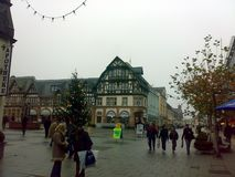 BAD HOMBURG, GERMANY - DECEMBER 28, 2007: Architecture and people on the streets city. BAD HOMBURG, GERMANY - DECEMBER 28, 2007: Architecture and people on the royalty free stock image