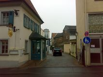 BAD HOMBURG, GERMANY - DECEMBER 28, 2007: Architecture and people on the streets city. BAD HOMBURG, GERMANY - DECEMBER 28, 2007: Architecture and people on the royalty free stock photo