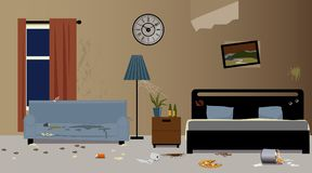 Bad hotel. Dirty messy hotel room interior, EPS 8 vector illustration, no transparencies Stock Images