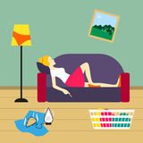 Bad housewife Vector illustration. Housewife lies on the sofa and smokes in untidy room Royalty Free Stock Images